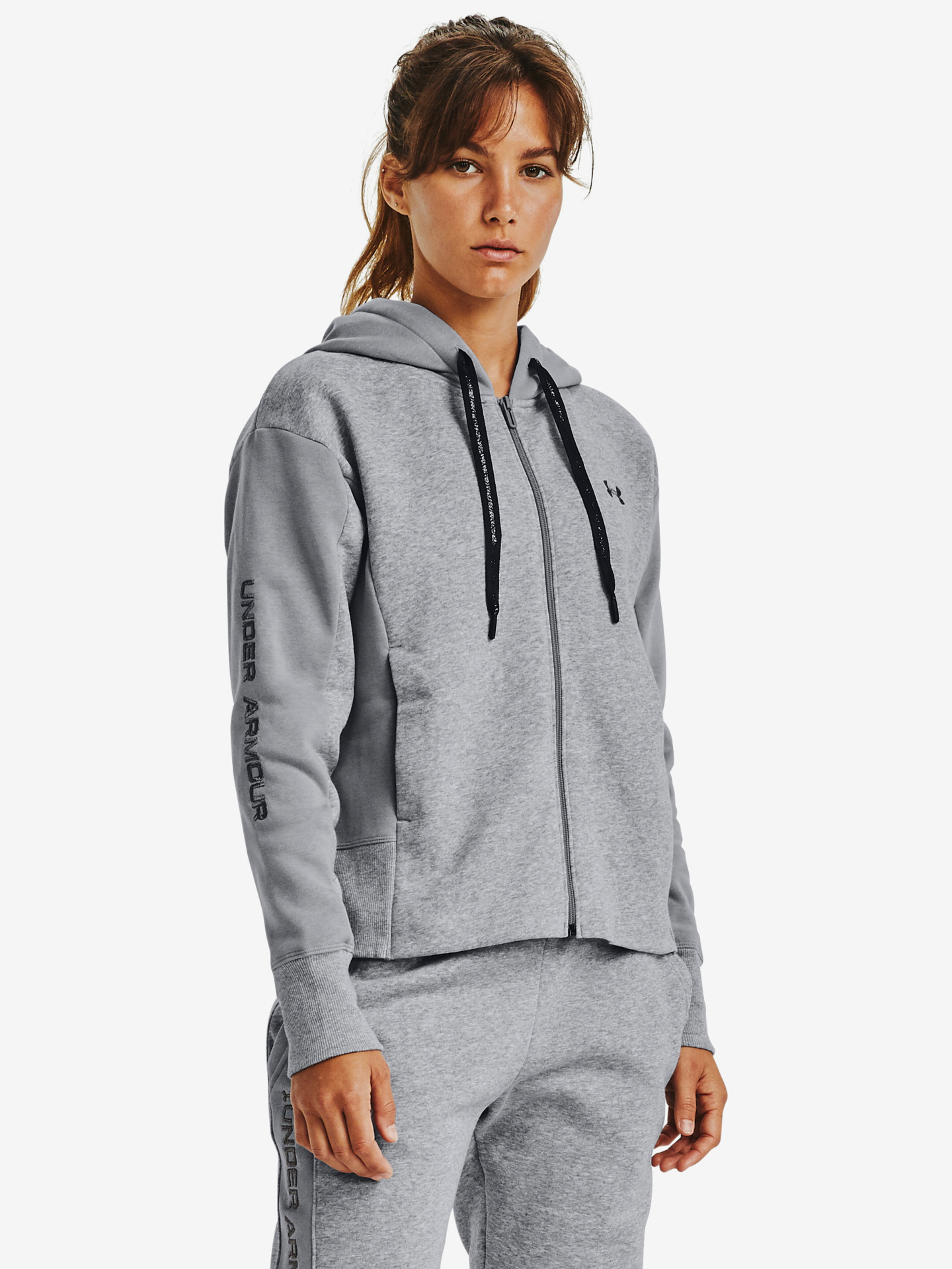 Rival Fleece Embroidered Full Zip Mikina Under Armour Šedá