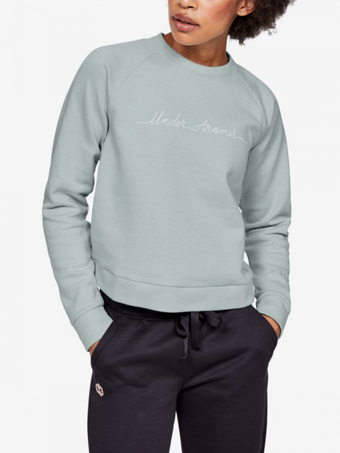 Tričko Under Armour Recovery Fleece Script Crew-Grn