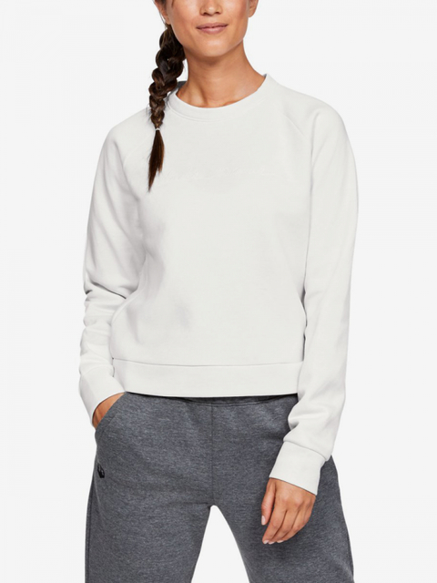 Tričko Under Armour Recovery Fleece Script Crew-Wht