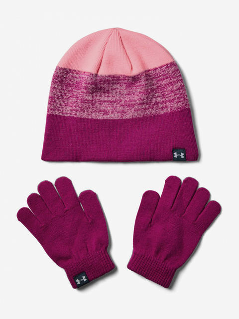 Čiapky a rukavice Under Armour Girls Beanie Glove Combo-Pnk