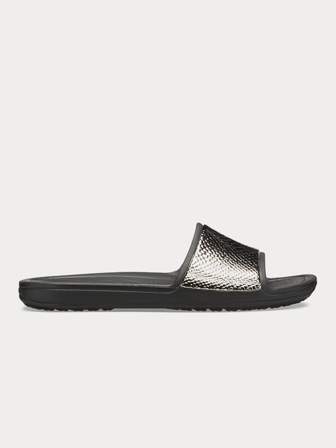 Papuče Crocs Sloane MetalText Slide W Gunmetal/Black